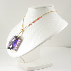 14k Solid Yellow Gold Faceted Octagon Cut Purple Amethyst Enhancer Pendant