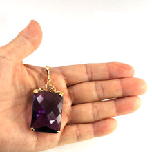 Load image into Gallery viewer, 14k Solid Yellow Gold Faceted Octagon Cut Purple Amethyst Enhancer Pendant