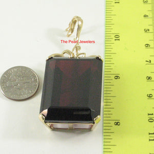 14k Solid Yellow Gold Baguette Cut 25x 35 mm Purple Garnet Enhancer Pendants