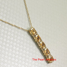 Load image into Gallery viewer, 14k Solid Yellow Gold Five 4x4mm Genuine Natural Golden Citrine Pendant