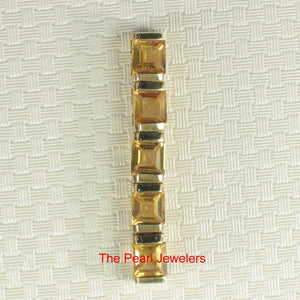 14k Solid Yellow Gold Five 4x4mm Genuine Natural Golden Citrine Pendant