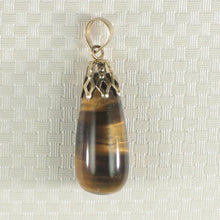 Load image into Gallery viewer, Beautiful 14k Solid Yellow Gold Cup Bale Genuine Brown Tiger-Eye Pendant