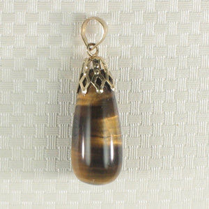 Beautiful 14k Solid Yellow Gold Cup Bale Genuine Brown Tiger-Eye Pendant
