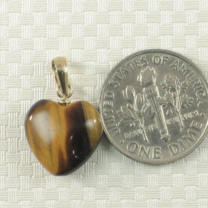 Beautiful 14k Solid Yellow Gold Bale Genuine Brown Heart Tiger-Eye Pendant