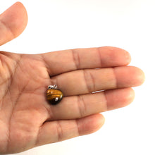 Load image into Gallery viewer, Lovely 14k Solid White Gold Bale Genuine Brown Heart Tiger-Eye Pendant
