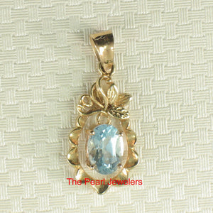 14k Solid Yellow Gold Pineapple Design 5 x 7 mm Oval Blue Topaz Pendants