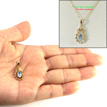 Load image into Gallery viewer, 14k Solid Yellow Gold Pineapple Design 5 x 7 mm Oval Blue Topaz Pendants