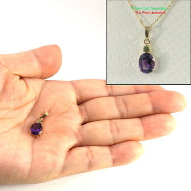 14k Solid Yellow Gold 7x9mm Genuine Natural purple Amethyst Pendant