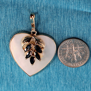 14k Solid Yellow Gold Heart Design Mother of Pearl & Blue Sapphire Pendant