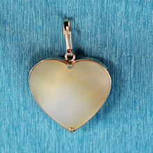 Load image into Gallery viewer, 14k Solid Yellow Gold Heart Design Mother of Pearl & Blue Sapphire Pendant