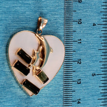 Load image into Gallery viewer, 14k Solid Yellow Gold Heart Design Mother of Pearl & Emerald Pendant