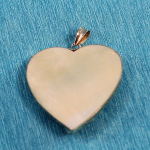 14k Solid Yellow Gold Heart Design Mother of Pearl & Emerald Pendant
