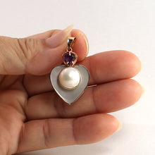 Load image into Gallery viewer, 14k Solid Yellow Gold Heart Design Mother of Pearl & Amethyst Pendant