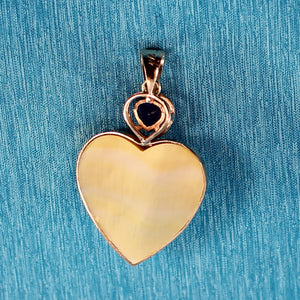 14k Solid Yellow Gold Heart Design Mother of Pearl & Amethyst Pendant