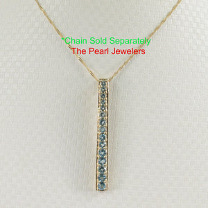 Fifteen Stone Graduated Blue Topaz Pendant Set 14k Solid Yellow Gold
