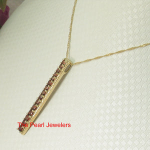 Fifteen stone Graduated Natural Brown Garnet Pendant 14k Solid Yellow Gold