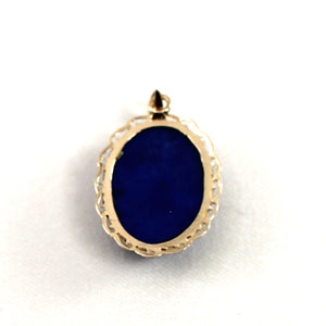 14k Solid Yellow Gold & Cabochon Oval Natural Blue Lapis Lazuli Pendant
