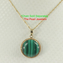 Load image into Gallery viewer, Genuine 15mm Cabochons Green Malachite Pendant in 14k Solid Yellow Gold