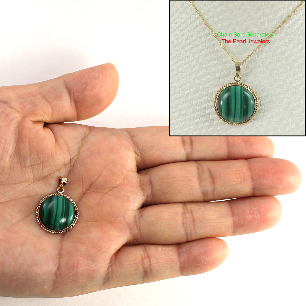 Genuine 15mm Cabochons Green Malachite Pendant in 14k Solid Yellow Gold