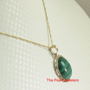 Genuine Natural Green Cabochons Malachite Pendant in 14k Solid Yellow Gold