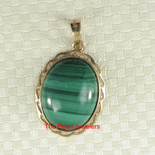 Load image into Gallery viewer, Genuine Natural Green Cabochons Malachite Pendant in 14k Solid Yellow Gold