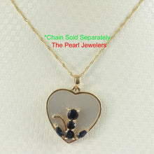 Load image into Gallery viewer, 14k Solid Yellow Gold Sapphire Anchor Heart Pendant Made of M.O.P & Sapphire