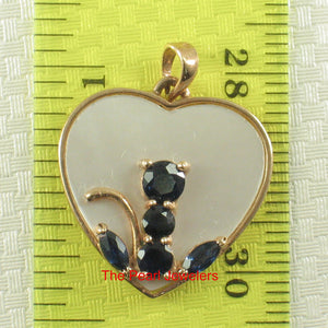 14k Solid Yellow Gold Sapphire Anchor Heart Pendant Made of M.O.P & Sapphire