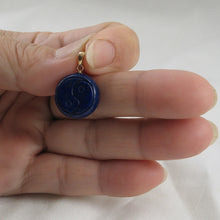 Load image into Gallery viewer, Coin Shaped Carving Natural Blue Lapis Lazuli 14k Solid Yellow Gold Pen