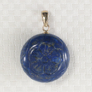 14k Solid Yellow Gold Coin Shaped Carving Natural Blue Lapis Lazuli Pendant