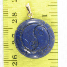 Load image into Gallery viewer, Natural Blue Lapis Lazuli Coin Shaped Carving 14k Solid Yellow Gold Pendant