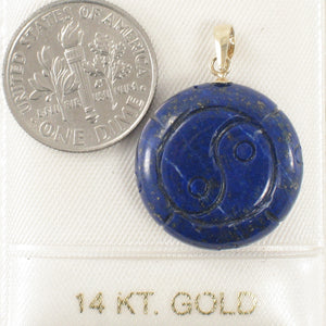Natural Blue Lapis Lazuli Coin Shaped Carving 14k Solid Yellow Gold Pendant