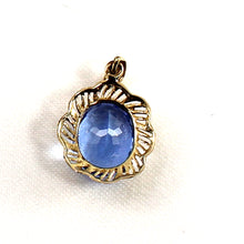 Load image into Gallery viewer, 14k Solid Yellow Gold Features an 8x10mm Oval Cut Blue Topaz Pendant