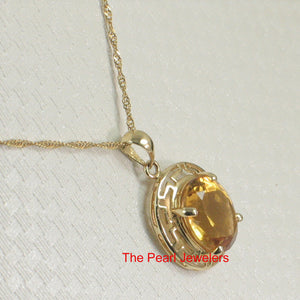 14k Solid Yellow Gold Greek Key an 8x10mm Oval Cut Citrine Love Pendant