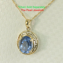Load image into Gallery viewer, 14k Yellow solid Gold Greek Key Design an 8x10mm Blue Topaz Pendant
