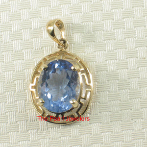 14k Yellow solid Gold Greek Key Design an 8x10mm Blue Topaz Pendant