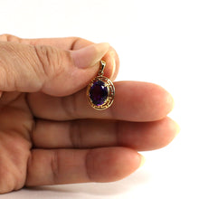 Load image into Gallery viewer, 14k Solid Yellow Gold Greek Key an 8x10mm Oval Cut Purple Amethyst Pendant