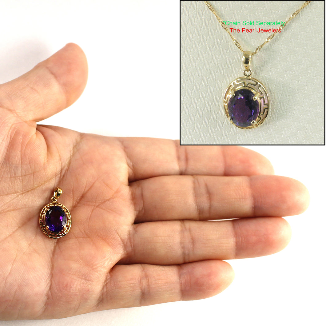 14k Solid Yellow Gold Greek Key an 8x10mm Oval Cut Purple Amethyst Pendant