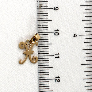 14k Yellow Gold Initial X Letter Charm Pendant