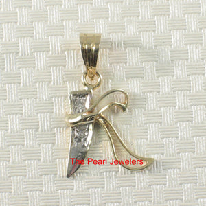 14k Yellow Solid Gold Initial K Set 2 Genuine Round Diamonds Pendant