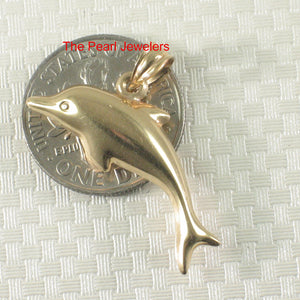 Beautiful Design Dolphin Handcrafted 14k Solid Yellow Gold Pendant Charm