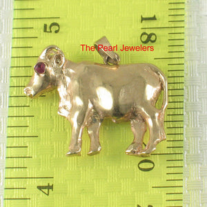 Handcrafted Unique Design Buffalo Ruby Eye 14k Yellow Gold Pendant Charm