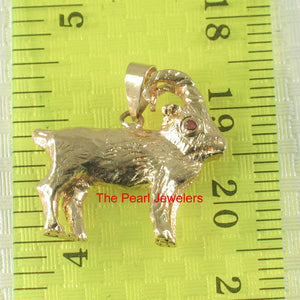 Handcrafted Unique Design Sheep Ruby Eye 14k Solid Yellow Gold Pendant Charm