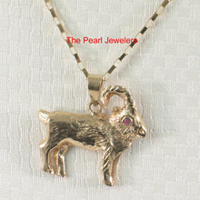 Load image into Gallery viewer, Handcrafted Unique Design Sheep Ruby Eye 14k Solid Yellow Gold Pendant Charm