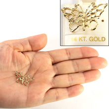 Load image into Gallery viewer, 14k Gold Diamond Cut Butterfly Pendant Charm