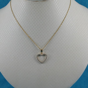 Beautiful & Love Heart 14k Solid Yellow Gold Diamond Pendant Necklace