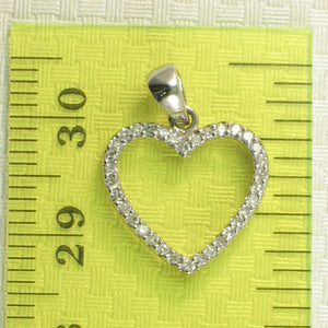 Simple & Beautiful Love Heart 14k White Solid Gold Diamonds Pendant