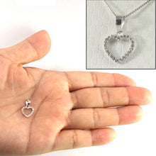 Load image into Gallery viewer, 14k White Solid Gold, Diamonds Love Heart Design Pendant Necklace