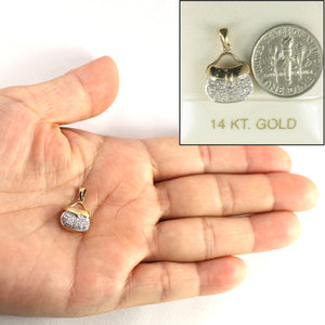 14k Solid Yellow Gold 28 Sparkling Genuine Diamond Purse Pendant
