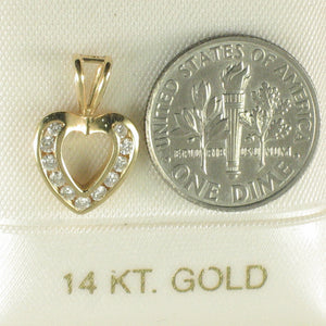 14k Solid Yellow Gold Heart Channel Setting Genuine Diamond Pendant