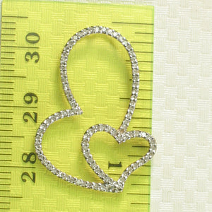 14k Solid Yellow Gold Heart in Heart Design Genuine Diamond Pendant